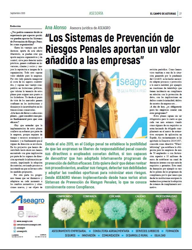 Los sistemas de #prevencionde #riesgos #penales, indispensables en el #SectorAgroalimentario #compliance Entrevista a nuestra compañera Ana Alonso por  El Campo de Asturias.